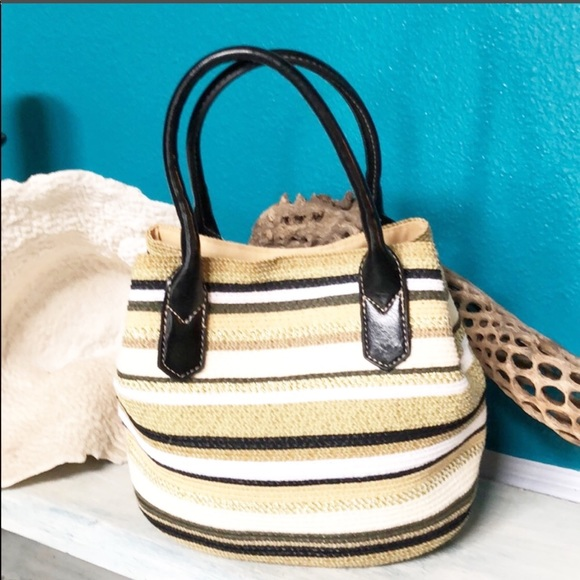 Handbags - Striped Midi Bucket Bag
